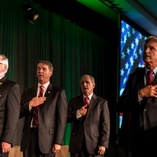 Co-Chair of the Congressional Sportsmen's Caucus, Senator Joe Manchin (D-WV) leads the Pledge of Allegiance