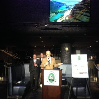 Actor and avid sportsman Gerald McRaney speaking at the reception