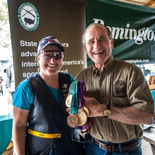 Olympic Gold medalist shooter Kim Rhode and Senator Jim Risch
