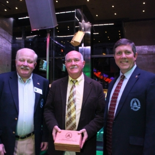 CSF's Jeff Crane presents M.P. Garry Breitkreuz with leadership award, alongside Board member, Shimano's Phil Morlock